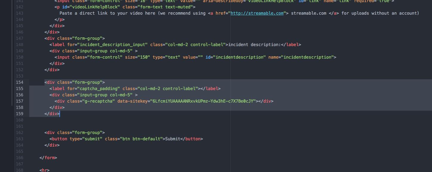 Implementing google recaptcha on a web form